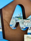Photographing the Notre Dame de la Garde from the Vieux Port, through this brillianted tinted M, the 'logo' of the city