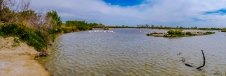 Panoramic shot of on of the lagoons in the Parc Ornithologique