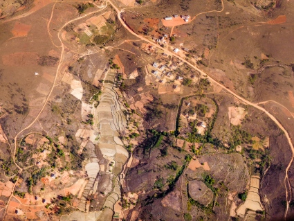 Madagascar central highlands, on the approach to land at Antananarivo
